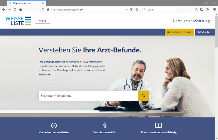 Screenshot Befunddolmetscher